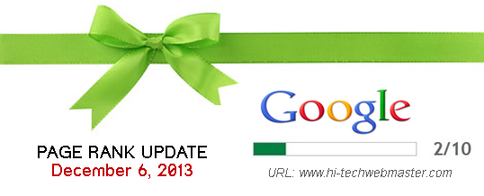 Google Page Rank Update: December 6th 2013